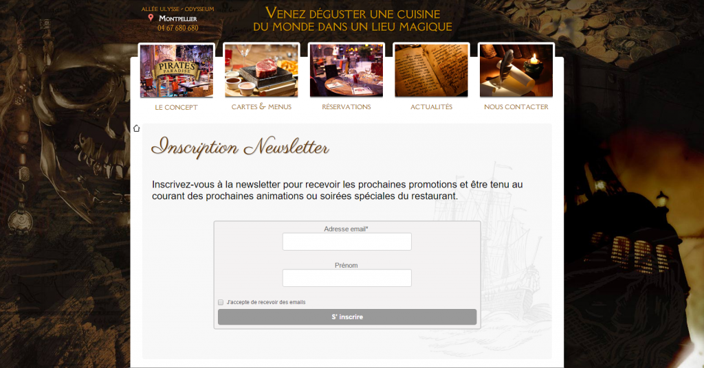 Restaurant Pirates Paradise - inscription newsletter en ligne