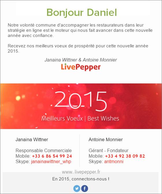 Newsletter de fin d'année LivePepper