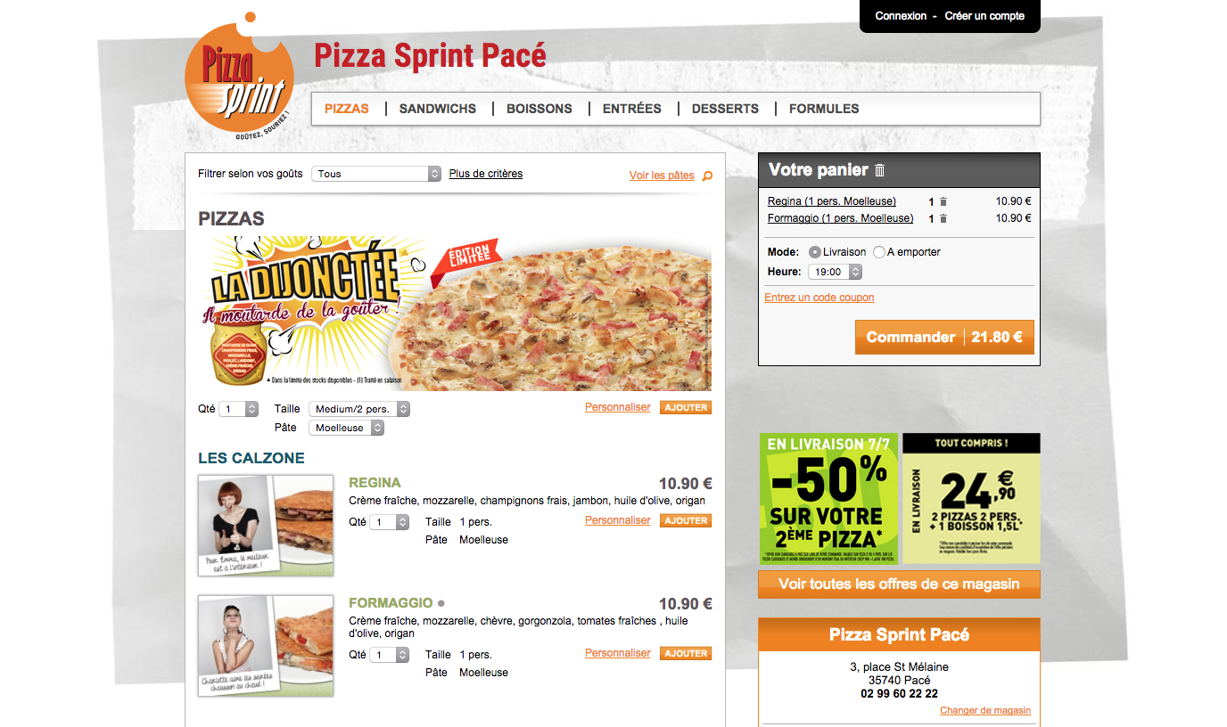 offre pizza sprint