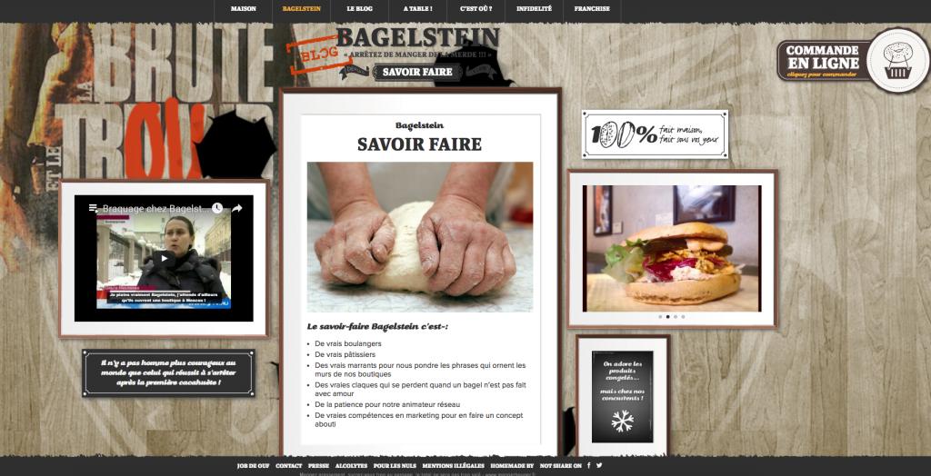 La page « Savoir faire » de Bagelstein, qui mêle plusieurs types de contenus