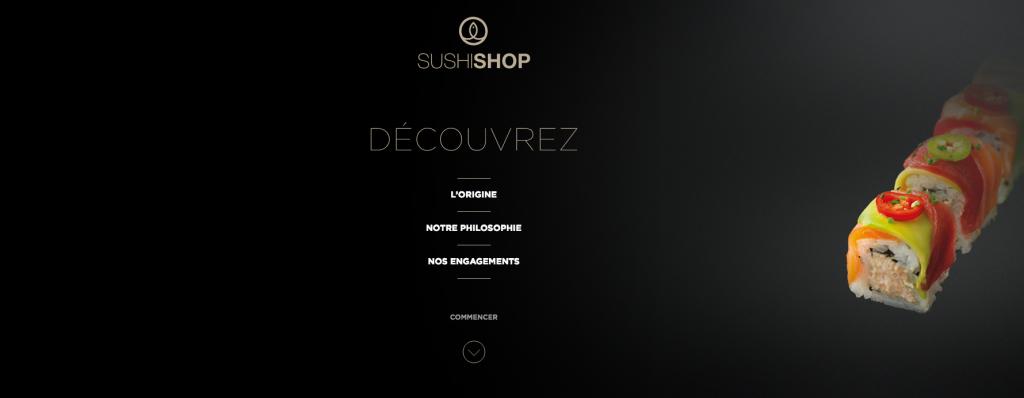 Un format « one page » complet pour présenter l'univers de Sushi Shop